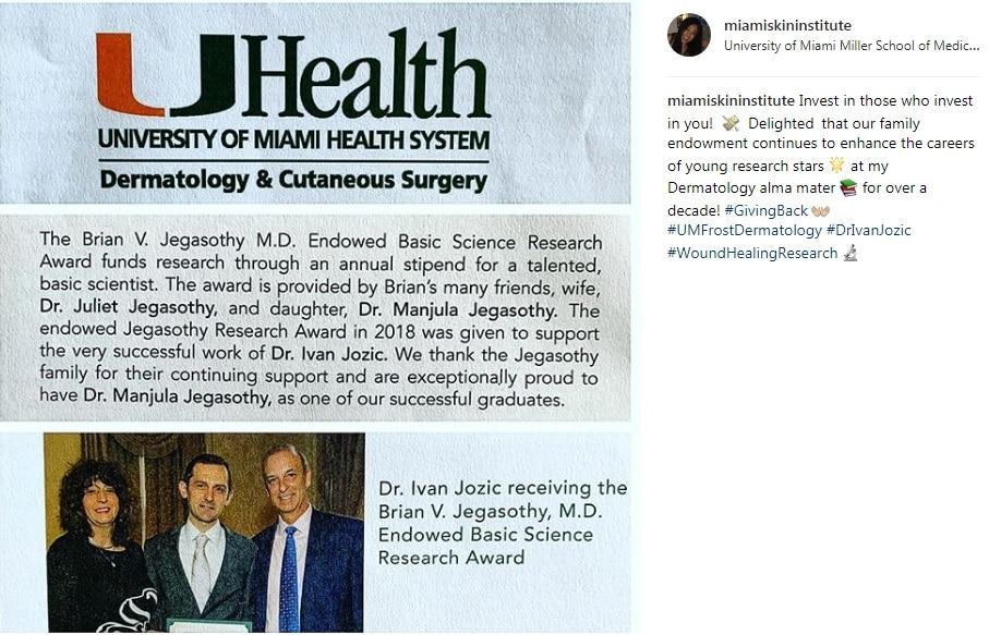 Brian V. Jegasothy 2018 Award Winner